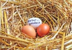 Un prodotto naturale di tre uova del pollo Fotografie Stock