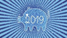 Un profilo bianco di un maiale contro un cielo stellato e la rotazione rays Il maiale è un simbolo di 2019 Anno del maiale giallo video d archivio