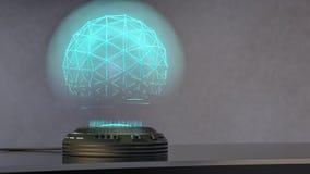 Un proyector del holo proyecta una esfera azul brillante ilustración del vector