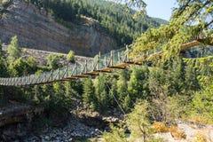 Un puente de balanceo sobre un barranco en Montana fotos de archivo libres de regalías