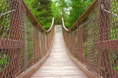Un puente de balanceo sobre un río en un parque provincial en Canadá foto de archivo