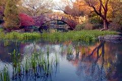 Un puente de piedra en Central Park, NY. imagenes de archivo