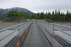 Un puente peatonal grande sobre el río Copper foto de archivo libre de regalías