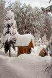Un puits d'attraction snow-covered Images libres de droits