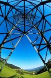 Un punto di vista della rana della linea elettrica Fotografia Stock