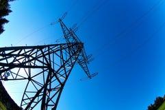 Un punto di vista della rana della linea elettrica Fotografie Stock Libere da Diritti