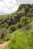 Un punto di vista delle montagne e dell'erba verdi, strade non asfaltate immagini stock libere da diritti