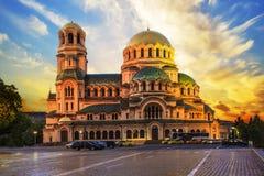 Un punto di vista di Alexander Nevsky Cathedral a Sofia, Bulgaria Fotografia Stock