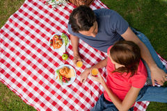 Un punto di vista elevato di due amici che si trovano su una coperta con un picnic Fotografia Stock
