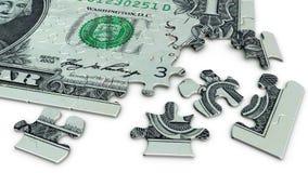 Un puzzle denteux de billet d'un dollar Images libres de droits