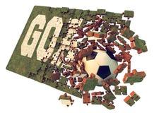 Un puzzle du football Photos libres de droits