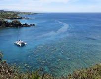 Un récif populaire pour naviguer au schnorchel, baie de Honolua, Maui, Hawaï Photos stock