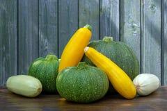 Un raccolto fresco di tre generi di zucchini immagini stock libere da diritti