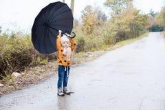 Un ragazzino cammina in autunno dell'ombrello della pioggia immagine stock libera da diritti