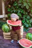 Un ragazzino con capelli biondi n l'estate un giorno soleggiato che si siede ad un gazebo con l'uva verde e che mangia un'anguria Immagine Stock Libera da Diritti
