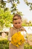 Un ragazzino sta tenendo un grande mazzo dei denti di leone gialli, timido, facenti smorfie, un regalo a sua madre immagine stock libera da diritti