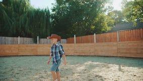 Un ragazzino viene allo ione del cavallo l'area nel giorno soleggiato 4K video d archivio