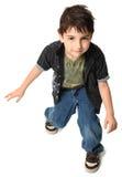 Un ragazzo ballante di sette anni Immagini Stock