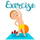 Un ragazzo che fa ginnastica sulla stuoia Un modo di vivere sano Immagini Stock