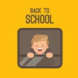 Un ragazzo che guarda fuori la finestra di uno scuolabus illustrazione di stock