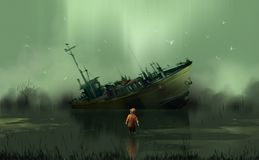 Un ragazzo che sta nello sguardo della palude alla barca abbandonata contro la HU royalty illustrazione gratis