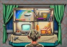 Un ragazzo con il computer, l'alimento ed i libri illustrazione di stock