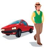 Un ragazzo con la sua automobile Fotografia Stock Libera da Diritti