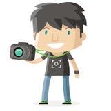 Un ragazzo del fotografo Fotografia Stock