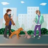 Un ragazzo e una ragazza camminano insieme i loro cani illustrazione vettoriale