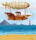 Un ragazzo e una ragazza che guidano un dirigibile illustrazione di stock