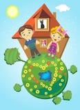 Un ragazzo e una ragazza hanno costruito una casa Fotografie Stock
