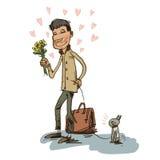 Un ragazzo ed il suo dell'amante canini Fotografia Stock