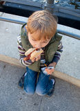 Un ragazzo mangia l'hot dog Fotografia Stock Libera da Diritti