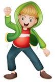 Un ragazzo in rivestimento verde Immagini Stock