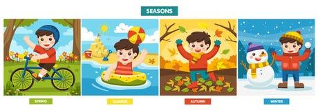 Un ragazzo sveglio che gioca nelle stagioni differenti immagini stock