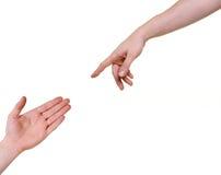 Un raggiungimento delle due mani Immagini Stock Libere da Diritti