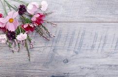 Un ramo de cosmea o de cosmos de las flores blancas con la cinta en los tableros blancos Flores amarillas del jardín sobre backgr Fotos de archivo libres de regalías