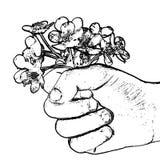 Un ramo de flores salvajes en la mano extendida del ` s del niño, imitación del dibujo de la mano Fotos de archivo libres de regalías
