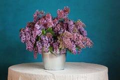 Un ramo de lilas en un cubo en un fondo azul Imágenes de archivo libres de regalías
