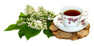 Un ramo de puntilla fresca del lirio de los valles cerca de un par f del té Imágenes de archivo libres de regalías