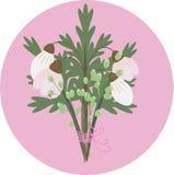 Un ramo de rosa y de blanco de Snowdrop Imagen de archivo