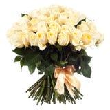 Un ramo de rosas blancas frescas aisladas en el fondo blanco Foto de archivo libre de regalías