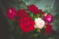 Un ramo de rosas rojas y blancas frescas hermosas Imagenes de archivo