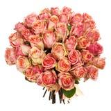Un ramo de rosas rosadas, rojas, amarillas frescas aisladas en el fondo blanco Imágenes de archivo libres de regalías