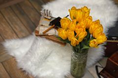 Un ramo de tulipanes amarillos en un florero dentro de un retro Foto de archivo libre de regalías