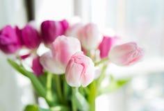 Un ramo de tulipanes en un florero Foco selectivo suave imagenes de archivo