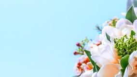 Un ramo de tulipanes y de primer decorativo de las flores en un fondo azul imagen de archivo