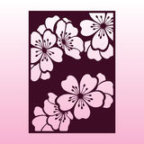 Un ramo della ciliegia o dei fiori di sakura Modello di taglio del laser Fotografia Stock Libera da Diritti