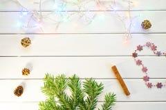 Un ramo di un albero di Natale, di una ghirlanda e dei coni su un BAC leggero fotografia stock libera da diritti