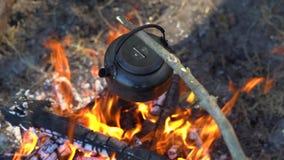 Un randonneur avec le bois de chauffage et une hache approche le feu sur lequel la bouilloire bout banque de vidéos